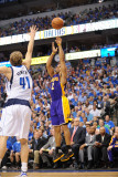 Los Angeles Lakers v Dallas Mavericks - Game Four, Dallas, TX - MAY 8: Derek Fisher and Dirk Nowitz Photographic Print by Noah Graham