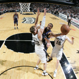 Memphis Grizzlies v San Antonio Spurs - Game Five, San Antonio, TX - APRIL 27: Mike Conley and Tiag Photographic Print by Bill Baptist