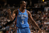 Oklahoma City Thunder v Denver Nuggets - Game Three, Denver, CO - APRIL 23: Serge Ibaka Photographic Print by Doug Pensinger