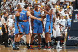 Oklahoma City Thunder v Memphis Grizzlies - Game Four, Memphis, TN - MAY 9: Kevin Durant, Nick Coll Photographic Print by Joe Murphy
