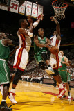 Boston Celtics v Miami Heat - Game Two, Miami, FL - MAY 3: Rajon Rondo, Chris Bosh and Joel Anthony Photographic Print by Issac Baldizon