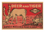 Deer And Tiger Safety Matches Prints