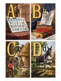 A, B, C, D Illustrated Letters Prints by Edmund Evans