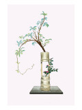 Fuji & Tsubaki (Wisteria And Camellia) In a Two Story Bamboo Vase Prints by Josiah Conder