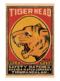 Tiger Head Safety Matches Prints