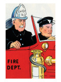 Fire Chief And Driver Print by Julia Letheld Hahn