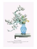 Yamanashi & Takejimayuri (Wild Pear And Lily) In a Blue And White Porcelain Vase Prints by Josiah Conder