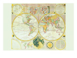 Stereographic Map of the Earth & the Moon Prints by Samuel Dunn