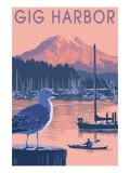 Gig Harbor, Washington at Sunset Poster Art by  Lantern Press