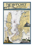 Newport, Rhode Island Nautical Chart Kunstdrucke von  Lantern Press