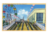 Coney Island, New York - Steeplechase Park View of the Ride Affiche