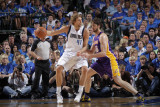 Los Angeles Lakers v Dallas Mavericks - Game Four, Dallas, TX - MAY 8: Dirk Nowitzki and Pau Gasol Photographic Print by Glenn James