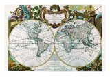 Mappe Monde Nouvelle Prints by George Louis Le Rouge