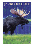 Jackson Hole, Wyoming - Moose at Night Prints by  Lantern Press