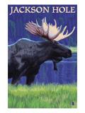 Jackson Hole, Wyoming - Moose at Night Prints by  Lantern Press