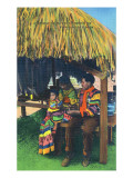 Everglades Nat'l Park, Florida - Seminole Indian Family at Home Prints by  Lantern Press