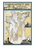 Narragansett Bay, Rhode Island Nautical Chart Print by  Lantern Press