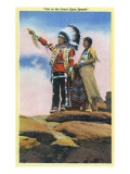 Native American Couple on Rocks Poster by  Lantern Press
