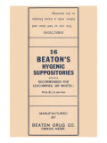 16 Beaton's Hygenic Suppositories Poster