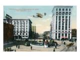 Montgomery, Alabama - Airplane Flying over Court Square, Commerce St Poster von  Lantern Press