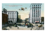 Montgomery, Alabama - Airplane Flying over Court Square, Commerce St Poster
