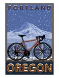 Mountain Bike in Snow - Portland, Oregon Prints by  Lantern Press