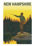 New Hampshire - Fisherman Art by  Lantern Press