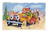 Comic Cartoon - Homeward Bound; Couple in Loaded Car Art