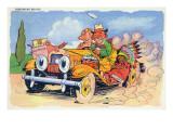 Comic Cartoon - Homeward Bound; Couple in Loaded Car Art by  Lantern Press
