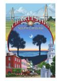 Charleston, South Carolina Town Views Posters by  Lantern Press