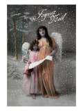 Joyeux Noel - Merry Christmas in French, Little Girl Carols with Angel Stampe di  Lantern Press