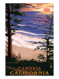 Cambria, California - Sunset & Surfers Posters