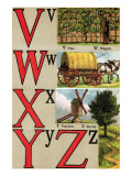 V, W, X, Y, Z Illustrated Letters Prints by Edmund Evans