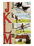 J, K, L, M Illustrated Letters Prints by Edmund Evans