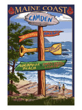 Camden, Maine - Sign Destinations Prints by  Lantern Press