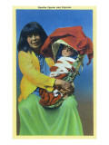 Apache Mother and Baby in Papoose Posters by  Lantern Press