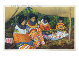Florida - Seminole Ladies Making Colorful Clothing Prints