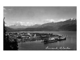 Seward, Alaska - Panoramic View of Town and Harbor Art by  Lantern Press