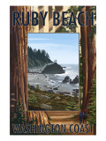 Ruby Beach and Forest - Washington Coast Prints by  Lantern Press