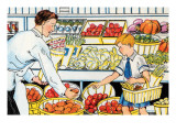 Shopping For Vegetables Posters by Julia Letheld Hahn