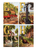 E, F, G, H Illustrated Letters Prints by Edmund Evans