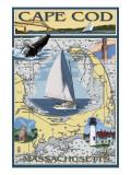 Cape Cod, Massachusetts Chart & Views Kunstdrucke