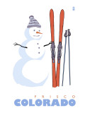 Frisco, Colorado - Snowman with Skis Art by  Lantern Press