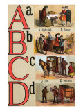A, B, C, D Illustrated Letters Posters by Edmund Evans