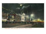 Revere Beach, Massachusetts - Boulevard and Nautical Garden at Night Art by  Lantern Press
