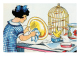 Cleaning the Birdcage Prints by Julia Letheld Hahn