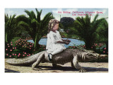 Los Angeles, California - Girl Riding Alligator at the Farm Posters af Lantern Press