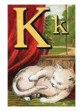 K For the Kitten That Plays With Its Tail Posters by Edmund Evans