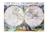 Stereographic Projection of the World With Latitude And Longitudinal Lines Prints by Edward Wells