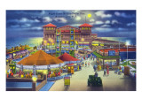Atlantic City, New Jersey - Million Dollar Pier at Night Prints